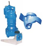 Submersible sewage pumps with grinder for viscous mass